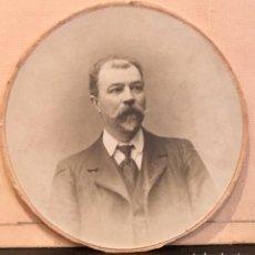 Fotografía antigua: FOTOGRAFIA CABALLERO BIGOTE DEDICADA REDONDA 1909 7,5CMS. Lote 64784327