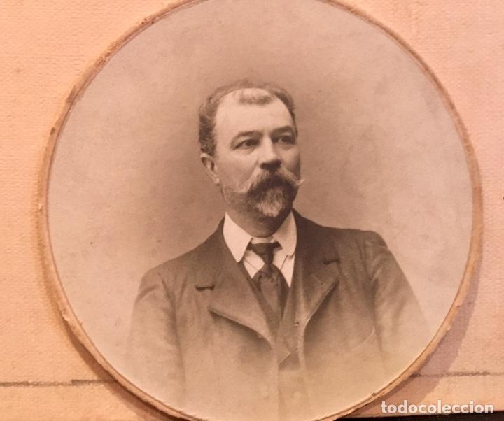 Fotografía antigua: fotografia caballero bigote dedicada redonda 1909 7,5cms - Foto 2 - 64784327