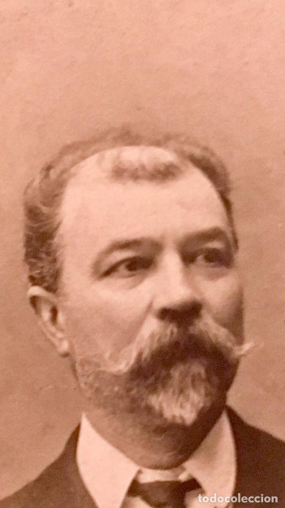Fotografía antigua: fotografia caballero bigote dedicada redonda 1909 7,5cms - Foto 6 - 64784327