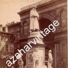 Fotografía antigua: MILAN, SIGLO XIX, ESPECTACULAR ALBUMINA MONUMENTO A LEONARDO DA VINCI,196X265MM. Lote 68250493