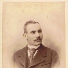 Fotografía antigua: FOTO CABINET. RETRATO DE TORSO DE CABALLERO. CA.1890-1895. FOT.: M.MATORRODONA. BARCELONA. Lote 68666525