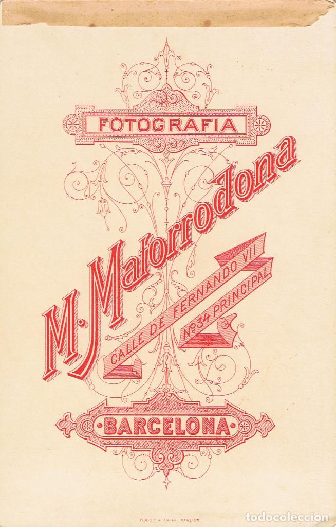 Fotografía antigua: FOTO CABINET. RETRATO DE TORSO DE CABALLERO. CA.1890-1895. FOT.: M.MATORRODONA. BARCELONA - Foto 2 - 68666525