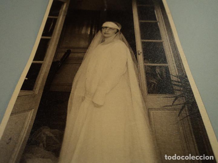 ANTIGUA FOTOGRAFIA BODA DE TIA CLAUDIA 15 X 10 CM (Fotografía Antigua - Albúmina)