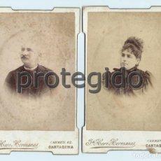 Fotografía antigua: LOTE DE 2 FOTOGRAFIAS. FOTÓGRAFOS J. DE HARO HERMANOS. CARMEN, 62. CARTAGENA, MURCIA.. Lote 73464043