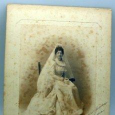 Fotografía antigua: FOTOGRAFÍA ALBÚMINA NOVIA BODA M HUERTA MADRID DEDICADA 1899. Lote 73773035