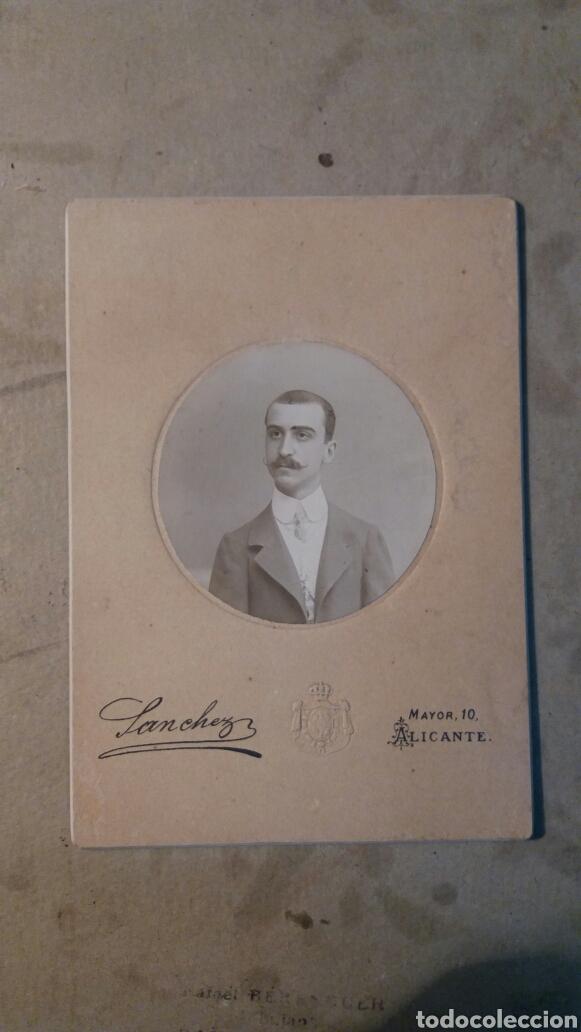 FOTO ANTIGUA. SÁNCHEZ. ALICANTE, DEDICADA 1908 (Fotografía Antigua - Albúmina)