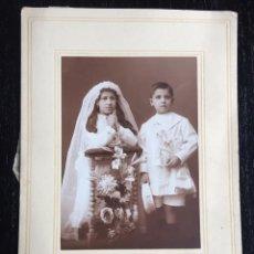 Fotografía antigua: ANTIGUA FOTOGRAFIA DE FREUDENTHAL - COMUNION NIÑA Y NIÑO - ZARAGOZA - PRINCIPIOS SIGLO XX - FOTOGRAF. Lote 97685971