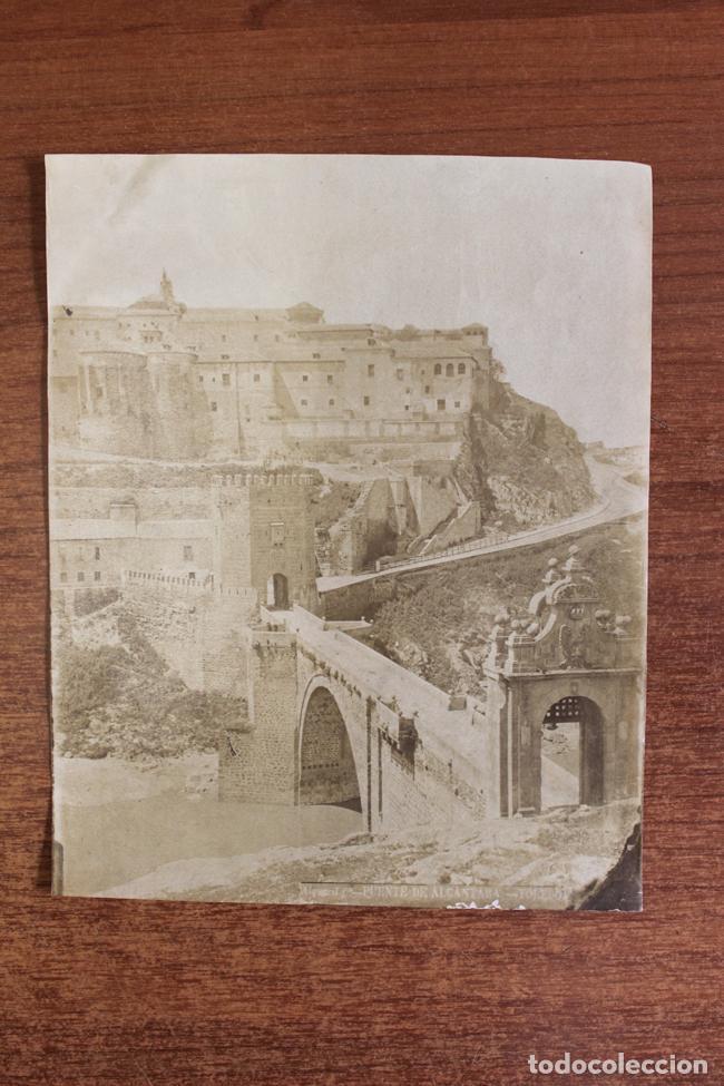 ANTIGUA ALBÚMINA. TOLEDO, PUENTE DE ALCANTARA. ALGUACIL FOT. S. XIX (Fotografía Antigua - Albúmina)