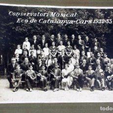 Fotografía antigua: FG-231. CONSERVATORI MUSICAL L'ECO DE CATALUNYA. FOTO DE GRUP CURS 1932-33.. Lote 83687428