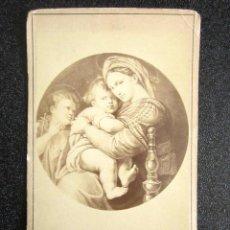 Fotografía antigua: AÑO 1865. ANTIGUA FOTOGRAFÍA ALBÚMINA CUADRO. GALERÍA PALACIO PITTI, FLORENCIA. VIRGEN DE LA SILLA. . Lote 87407140