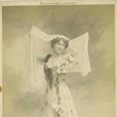 Fotografía antigua: LUZ CHAVITA. ARTISTA BAILE DANZA.JEREZANA TRIUNFO EN PARIS. FIN S.XIX. TIPO CABINET. MUY RARA.. Lote 88759228