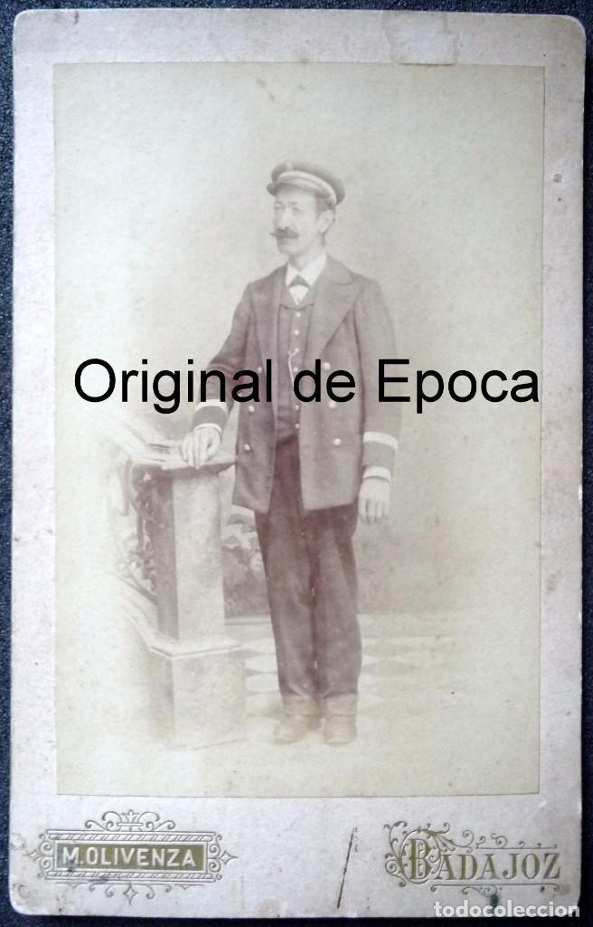 (JX-170622) FOTOGRAFÍA DE FUNCIONARIO , CONDUCTOR , CORREOS , TELÉGRAFOS ?, REALIZADA EN BADAJOZ (Fotografía Antigua - Albúmina)