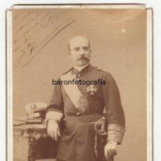 Fotografía antigua: FERNANDO PRIMO DE RIVERA (1831-1921) CAPITÁN GENERAL DE FILIPINAS. FOTO: ALVIACH, MADRID.18X26CM.. Lote 94296214
