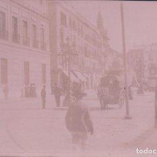 Fotografía antigua: FOTO FOTOGRAFIA ALBUMINA PLAZA SAN FRANCISO - GIRALDA - ANIMADA - CARROZA SEVILLA. Lote 96703735