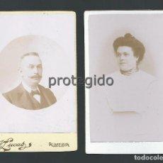Fotografía antigua: LOTE DE DOS RETRATOS. ESPOSOS. FOTÓGRAFO VICTORIANO LUCAS. ALMERÍA.. Lote 99295179