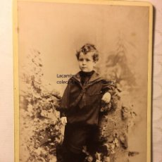 Fotografía antigua: ANTIGUA FOTOGRAFIA ORIGINAL ALBUMINA FF.S,XIX 1880 FOTO. M. MATORRODONA NIÑO MARINERO. Lote 191727746