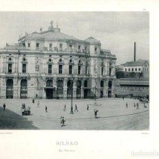 Fotografía antigua: FOTOTIPIA BILBAO. EL TEATRO. TEATRO ARRIAGA. HAUSER Y MENET. Nº 390. AÑO 1895. Lote 100039787