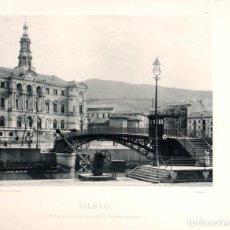 Fotografía antigua: FOTOTIPIA BILBAO. PUENTE DE SAN AGUSTIN Y AYUNTAMIENTO. HAUSER Y MENET. Nº 370. AÑO 1895. Lote 100040383