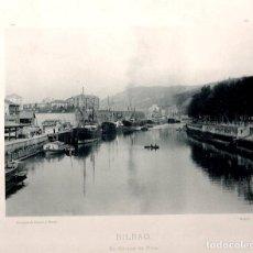 Fotografía antigua: FOTOTIPIA BILBAO. EL MUELLE DE RIPA. HAUSER Y MENET. Nº 372. AÑO 1895. Lote 100040647