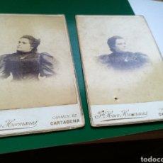 Fotografía antigua: LOTE DE 2 FOTOGRAFÍAS DE J DE HARO HERMANOS CALLE DEL CARMEN DE CARTAGENA MUY ANTIGUAS. Lote 100243300