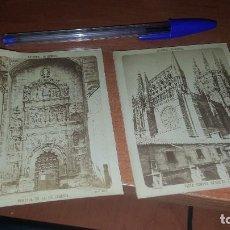 Fotografía antigua: ALBUMINAS DE LA CATEDRAL DE BURGOS, PORTADA PELLEGERIA Y DESDE EL CLAUSTRO, 10,5 X 8 CM.. Lote 102551907