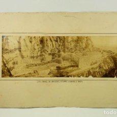 Fotografía antigua: MONASTERIO DE MONTSERRAT, VISTA GENERAL. 1860-70'S APROX. SOPORTE: 37X62CM. FOTO: 16X44 CM.. Lote 103319047