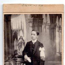 Fotografía antigua: FOTOGRAFÍA S.XIX, COMUNION . - MADRID 20 X 11 CM. Lote 103472687