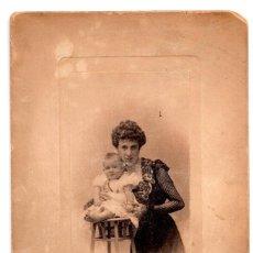 Fotografía antigua: FOTOGRAFÍA S.XIX, ESTUDIO FOTOGRÁFICO FRANZEN. - MADRID 20 X 12,5 CM - MUJER CON BEBE. Lote 103512967