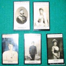 Fotografía antigua: 5 CROMOS FOTOGRÁFICOS DE LOS REYES ALFONSO XII Y XIII Y LAS REINAS Mª CRISTINA Y VICTORIA. BORBÓN. Lote 103666647