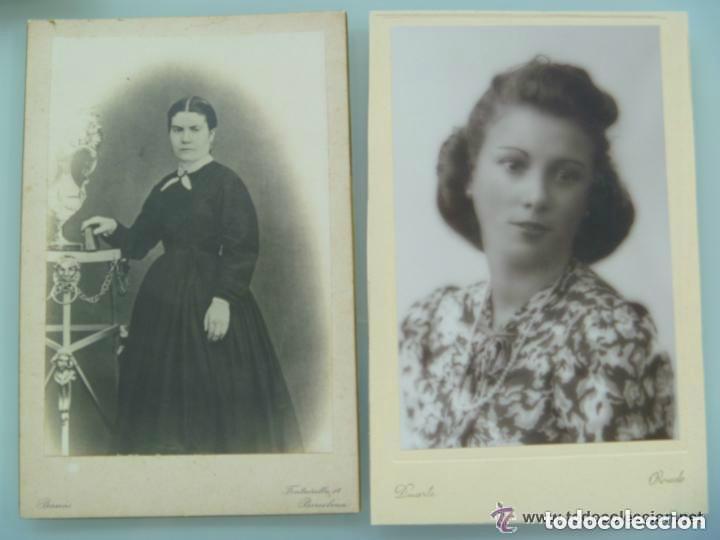 LOTE 2 FOTOS SIGLO XIX Y XX : SEÑORITA DE DUARTE , OVIEDO Y SEÑORA DE BANUS , BARCELONA. 12 X 18 CM (Fotografía Antigua - Albúmina)