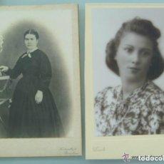 Fotografía antigua: LOTE 2 FOTOS SIGLO XIX Y XX : SEÑORITA DE DUARTE , OVIEDO Y SEÑORA DE BANUS , BARCELONA. 12 X 18 CM. Lote 104443859