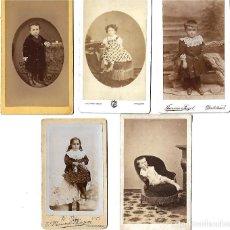Fotografía antigua: LOTE DE 5 ANTIGUAS FOTOGRAFIAS DE NIÑOS DE DIFERENTES FOTOGRAFOS. Lote 107561243