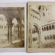 Fotografía antigua: MONESTIR DE RIPOLL, 1860-70S. 2 FOTOGRAFÍAS, FÓTOGRAFO: JMF, ALBÚMINAS 21,5X27,5 Y 20X26CM.. Lote 110212555