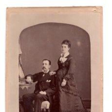 Fotografía antigua: FOTO CABINET - ESTUDIO FOTOGRÁFICO ANGEL CARRORENA. BADAJOZ 1878. Lote 110260843