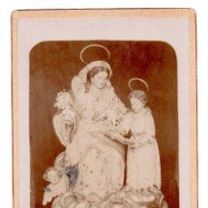 Fotografía antigua: FOTO CABINET - SANTA ANA ENSEÑANDO A LEER A LA VIRGEN. Lote 110261047