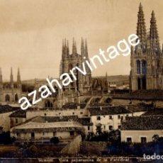 Fotografía antigua: BURGOS, VISTA PANORAMICA DE LA CATEDRAL , FOT. VADILLO, 230X155MM. Lote 110290203