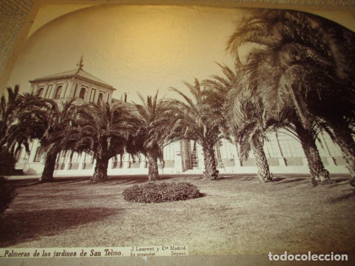 Fotografía antigua: Sevilla J. Laurent y Cia. 1341 Palmeras de los jardines de San Telmo 33x25 cm circa 1870, rara - Foto 3 - 110359011