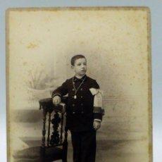 Fotografía antigua: FOTOGRAFÍA ALBÚMINA NIÑO PRIMERA COMUNIÓN REYMUNDO Y CÍA CÁDIZ S XIX10. Lote 111600863