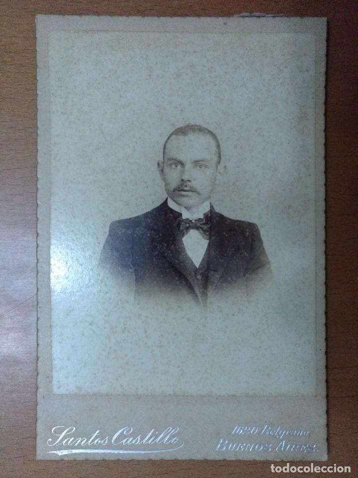FOTOGRAFIA DE CABALLERO FOTOGRAFO SANTOS CASTILLO BUENOS AIRES 1899 (Fotografía Antigua - Albúmina)
