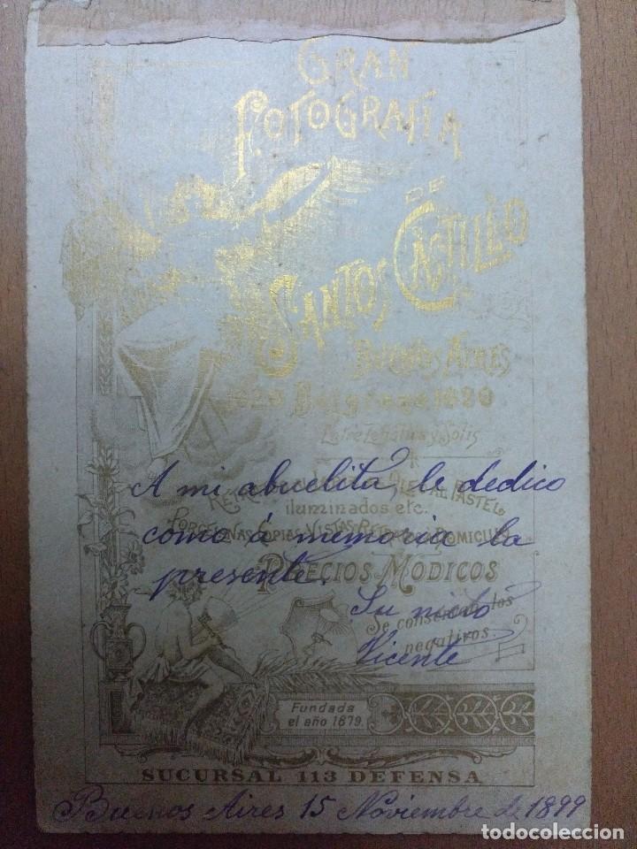 Fotografía antigua: FOTOGRAFIA DE CABALLERO FOTOGRAFO SANTOS CASTILLO BUENOS AIRES 1899 - Foto 2 - 204112490