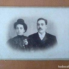Fotografía antigua: FOTO DE ESTUDIO PAREJA JOVEN FOTOGRAFO GARCIA Y GOVIN. BARCELONA (1900). Lote 112218343