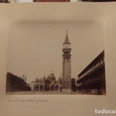 Fotografía antigua: FOTOGRAFIA DE LA PLAZA DE SAN MARCOS Y CATEDRAL, SIGLO XIX, ALBUMINA. Lote 112449819