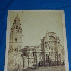 Fotografía antigua: (M) ALBUMINA DE LA FACHADA DE LA CATEDRAL DE MURCIA , 32 X 24'5 CM, VER FOTOGRAFIAS ADICIONALES. Lote 112607771