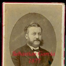 Fotografía antigua: SEBASTIAN GARCIA - 1877 - RETRATO - FOTOGRAFIA FERNANDO DEBAS - MADRID . Lote 112745235