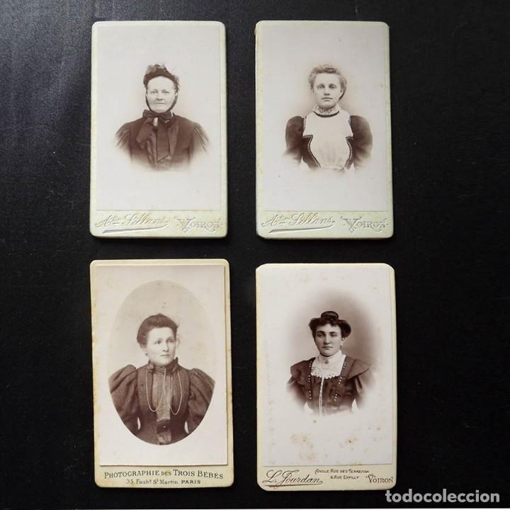 Fotografía antigua: 4 retratos de mujeres, albúmina, finales del XIX, 6,5 x 10,5 cm - Foto 2 - 112901699