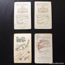 Fotografía antigua: 4 RETRATOS DE MUJERES, ALBÚMINA, FINALES DEL XIX, 6,5 X 10,5 CM. Lote 112901699