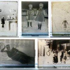 Fotografía antigua: LOTE DE CINCO NEGATIVOS EN CRISTAL - ESCENAS COTIDIANAS - PLACAS FOTOGRÁFICAS - COLECCIONISTA. Lote 113366091