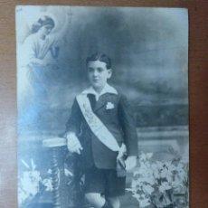 Fotografía antigua: RETRATO NIÑO 1ª COMUNION FOTOGRAFO BARO BARCELONA PRINCIPIOS SIGLO XX. Lote 113667579