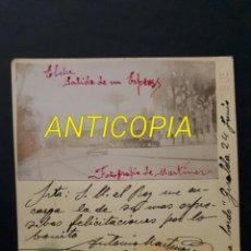 Fotografía antigua: ELCHE SALIDA DEL FERROCARRIL EXPRESO EN 24 DE JUNIO DE 1903 ALICANTE. Lote 114734571