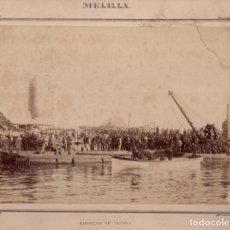 Fotografía antigua: ALBÚMINA. MELILLA EMBARQUE DE TROPAS SELLO DEPOSITO DE GUERRA - 24 X 33 CM. Lote 115191571